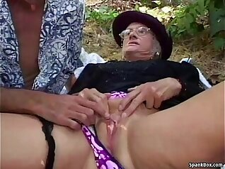 Brunette college Granny fucked outdoors by horny dude