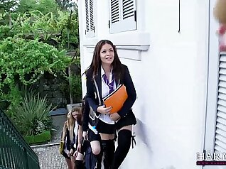 Schoolgirl With Blue Dress Has Lesbian Fun