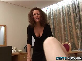 curvy mature woman is taking care of a duo of dicks hard
