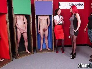 CFNM secretaries are handling their hot orgy
