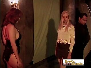Hot slave fucking in her dungeon