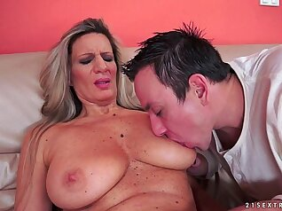 Big booty granny with soaked stockings
