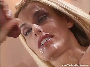 Blonde MILF takes it in the ass with handjob