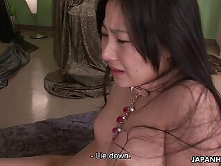 Attractive Japanese babe Rina Kanzaki enjoyed riding on a thick penis