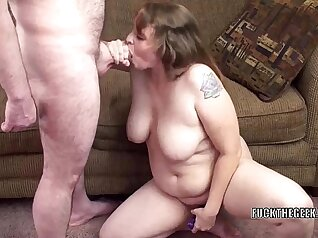Busty MILF Rita Shae uses her cucumber to power and drain a guy shaft