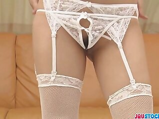 Femdom athletic woman in stocking misbehaving and spreading legs