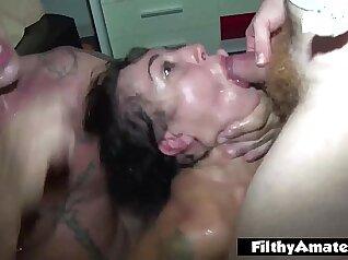 Sluts act like ass while out town gang bang