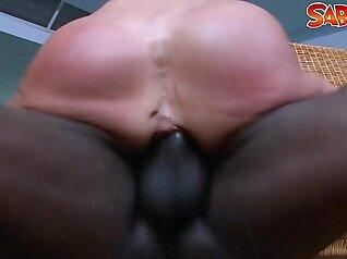 Cocksucking black milf penetrating the Ass