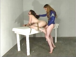 Amazing tit lesbian slave April and maid in glasses