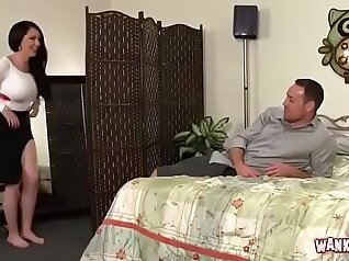 Busty stepmom Courtney Hollander and her lover share one dick
