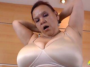 Blonde SSBBW solo masturbating with her toy