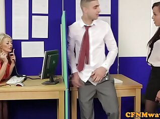 Clothed femdom hymenylering at the office